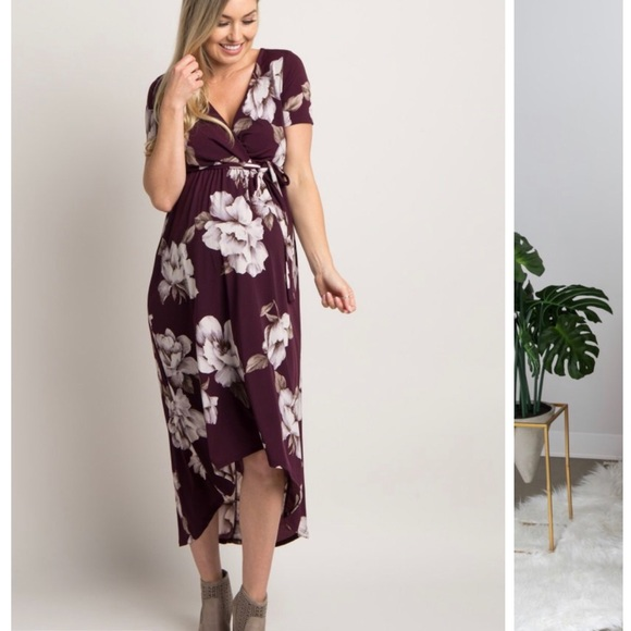 63f50a45d6554 Pinkblush Dresses | Plum Floral Maternity Dress Small | Poshmark
